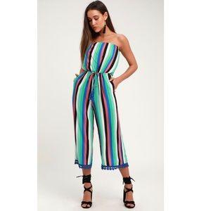 SiestaMulti Striped Culotte Jumpsuit Cover-Up